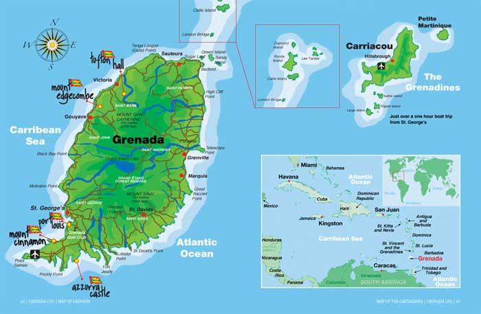 格林纳达地图